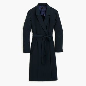 J Crew Long Tie-waist Jacket Deep Navy Small